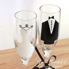 #Bride and groom champagne flutes by www.JudiPaintedit.com $45 per set and FREE personalization.