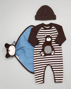 Cozy Camper Striped Jumpsuit, Security Blanket & Cap by Cach Cach at Neiman Marcus.