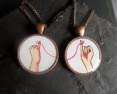 best friend necklace set friendship necklaces by curiouscatfish, $34.00
