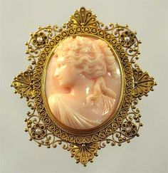 Ornate Gold Estruscan Coral Cameo from perfectjewels.net by perfectjewels, via Flickr