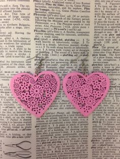 korttiin: pink heart earrings | laser cut wood | valentine's day gift  by annefranklindesigns, $14.00 #valentinesday #valentine
