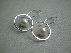 novia - sterling silver and pearl earrings by RubyTynan on Etsy, £16.99
