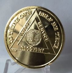1 Year 22k Gold Plated AA Alcoholics Anonymous Sobriety Medallion Chip Serenity Prayer Bright Star Press
