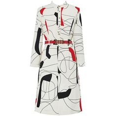 White Abstract Print Belted Waist Work Midi Dress ($55) ❤ liked on Polyvore featuring dresses, midi dress, abstract dress, abstract print dress, white color dress and calf length dresses