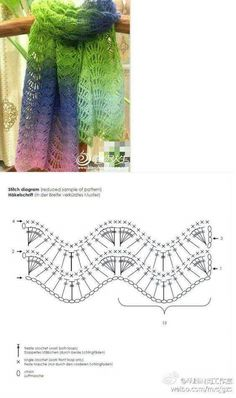 Crochet Ripple Stitch Patterns かぎ針編みのリップルステッチパターン⋆かぎ針編みの王国 Source by . Crochet Shawl Diagram, Crochet Lace Scarf, Crochet Ripple, Crochet Shawls And Wraps, Crochet Scarves, Crochet Clothes, Crochet Top, Stitch Crochet, Scarf Knit