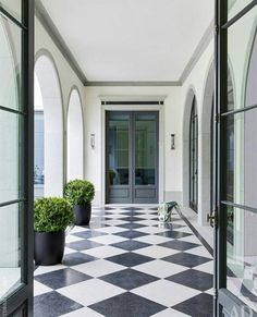 Foyers, Black And White Marble, Black And White Flooring, Interior  Exterior, Interior