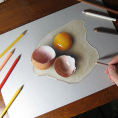 Realistic Drawings My drawing of a broken egg by marcellobarenghi - 3d Art Drawing, Object Drawing, Food Drawing, Art Drawings Sketches, Drawing Ideas, Drawing Faces, Drawing Tutorials, Art Illustrations, Drawing Techniques