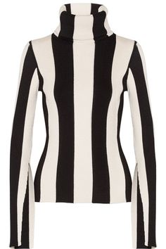 Monse - Striped Ribbed Stretch-knit Turtleneck Sweater - Black - x large