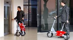 """The Voltitude fold-up electric scooter has an ingenious EasyFold system. Once folded, a special button on the handlebar enables you to """"walk"""" it alongside you indoors, so you never raise a sweat in reaching a power outlet, which will fully replenish the battery inside four hours."""