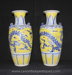 - Stunning pair of Chinese Imperial Yellow Ming style porcelain vases<BR> - Such an eye catching colour scheme with the bright yellow offset by hand painted blue designs<BR> - Scrolling dragon motif very eye catching<BR> - Great collectors pair ready to be the talking point to any interior<BR> - Viewings welcome in our large North London / Hertfordshire antiques showroom which is packed to the rafters with goodies<BR> - Will ship to anywhere in the world - please email for shipping…