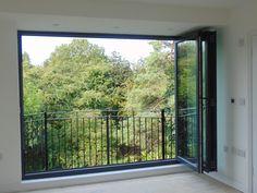 Alternative Glazing For Lofts · Folding Sliding Doors Loft Conversion Dressing Room, Loft Conversion Stairs, Balcony Doors, Balcony Railing, Bedroom Balcony, Roof Window, Bay Window, House Extension Design, Extension Ideas