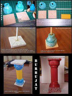 Tutoriais coluna romana : tampa de produto de limpeza , papelão ondulado, base de madeira