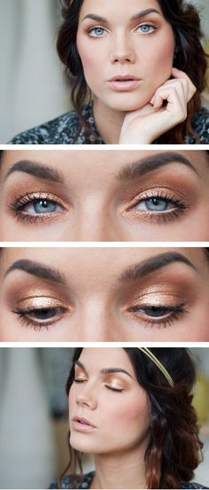 "Today's Look : ""Natural Gold"" -Linda Hallberg ( a simple gold/copper eye)"