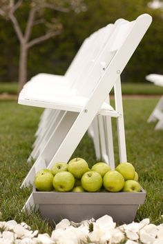 an aisle flanked with apples  Photography by http://juliemikos.com, Floral Design by http://juliestevensdesign.com