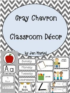 This HUGE 207 page pack will help you organize and decorate your classroom in this fun and simple gray chevron theme