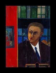 """Andre Breton, 1945 par Ferdinand desnos.""""C'est ainsi qu'il m'est impossible de considérer un tableau autrement que comme une fenêtre dont mon premier souci est de savoir sur quoi elle donne, autrement dit, si, d'où je suis, la vie est belle, et je n'aime rien tant que ce qui s'étend devant moi à perte de vue"""" Andre Breton ,Le surréalisme et la Peinture"""