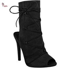 À Lacets Talon Haut Sandales Soirée Femmes Bout Ouvert Aiguille Bottines Cheville - Taille - Noir Daim Synthétique, FR 39 - Chaussures fashion thirsty (*Partner-Link)