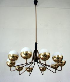 Anonymous; Enameled Metal, Brass and Opaline Glass Ceiling Light by Stilnovo, c1955.