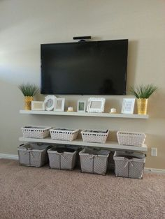 Chic and Modern TV Wall Mount Ideas for Living Room Storage Design, Toy Storage, Small Spaces, Toys, Electronics, Ideas, Small Living Spaces, Warehouse Design, Toy