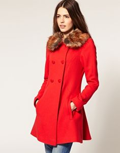 Enlarge ASOS Fluted Back Coat With Faux Fur Collar
