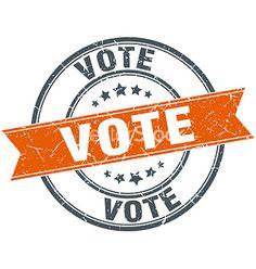 Vote round orange grungy vintage isolated stamp vector