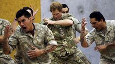 Prince Harry does the haka with the New Zealand army at Linton on 13 May 2015.
