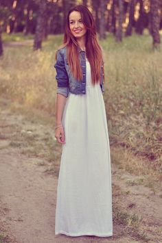 Pretty white maxi dress with a denim jacket! Women's summer spring fashion clothing outfit