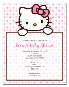 Hello Kitty Baby Shower Invites Best Of Hello Kitty Invitation Hello Kitty Birthday Invitations, Kids Birthday Party Invitations, Invitation Layout, Baby Shower Invitation Templates, Invites, Hello Kitty Baby Shower, Baby Kitty, Christening Invitations, Kitty Party