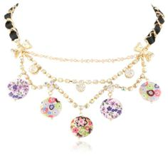 """Betsey Johnson """"Mother of Pearl Flowers"""" Mother of Pearl Flower Disc Necklace, 19"""" - Fashion Jewelry"""