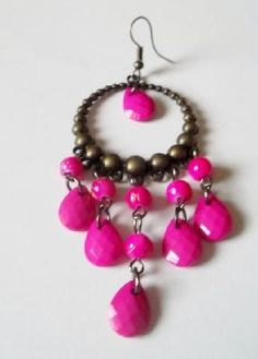 Pink Jelly Dangle Earrings on Bronze mounting