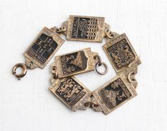 Vintage Brass French Panel Bracelet - 1940s Historical Attractions France Souvenir Black Enamel Jewelry - Mt. St Michel, Normandie, Bretagne by Maejean Vintage on Etsy, $38.00