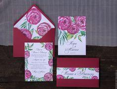 """Купить Приглашение на свадьбу """"Бордовые пионы"""" - бордовый, приглашение на свадьбу, приглашение, приглашения на свадьбу"""