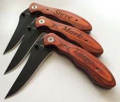 5 Personalized Engraved Pocket Hunting knives Rosewood Handle Groomsmen Gifts