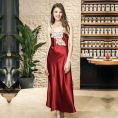 57c842982a Hot Sell Sleep Lounge Sexy Lace Women Nightgowns   Sleepshirts Elegant  Satin Sleepwear Silk Night Dress Indoor Women Clothing