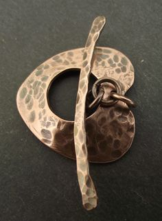 Pure Copper Heart Shaped Toggle Clasp - oxidised or shiny £6.50 by Abyjem handcrafted jewellery - made in Cumbria