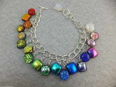 CHARM BRACELET - Handmade Dichroic Glass Gems on Silver Plated Chain -