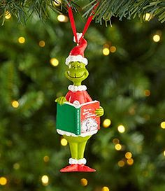 Department 56 5-in. Dr. Seuss Grinch Reading Ornament