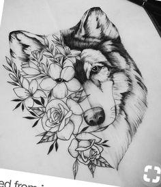 wolf tattoo - Taylor Gallagher - My list of best tattoo models Kunst Tattoos, Body Art Tattoos, New Tattoos, Tattoo Drawings, Sleeve Tattoos, Thigh Sleeve Tattoo, Flower Drawings, Celtic Tattoos, Chest Tattoo