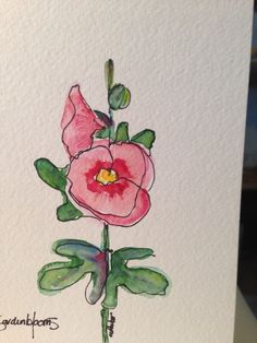 Beautiful Hollyhock Watercolor Card by gardenblooms on Etsy