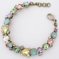 Sorrelli Cupcake Collection | Geometric Pastel Crystal Bracelet with mint alabaster. $103