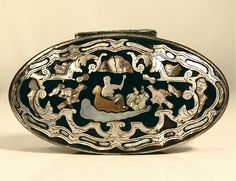 18th C French Baroque SHELL Snuff Box SILVER & GOLD PIQUE TABATIERE c. 1730s Ecaille Tortoiseshell Magnificent!