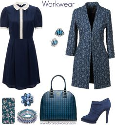 WORKWEAR IN BLUE Shades of blue for this work outfit: navy shirt dress, fitted coat, Tory Burch bag, suede peep toe booties, floral iphone case, spiked bracelet, floral brooch and shell earrings. Item links on www.forarealwoman.com #clique #navy #tory burch