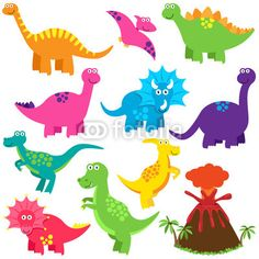 Vektor: Vector Collection of Cute Cartoon Dinosaurs and a Volcano