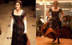 """Kate Winslet em """"Titanic"""" (1997) Uma das maiores superproduções não poderia ter qualquer figurino. Durante todas as trocas da Rose, personagem de Kate, o vestido que mais marca é o bordô, usado na cena do jantar."""