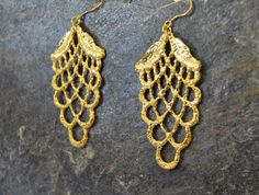 large gold statement earrings - gold lace earrings, sculptural gold earrings, spring jewelry , nature inspired - wedding earrings, organic