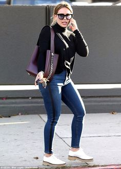 In the jeans: Hilary Duff flaunted her figure in a smart ensemble in Beverly Hills on Wedn...