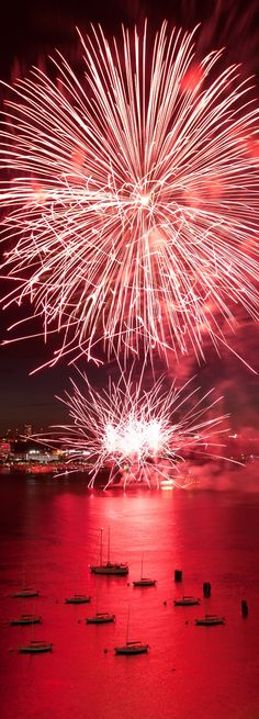 """""""Red Water"""" by Alex Hoehne ---Fireworks on 4th of July taken from a rooftop in New York 2011."""