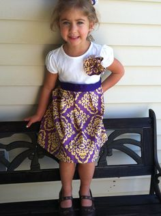 Purple and gold damask tshirt dress LSU girl by Paytepieboutique... Christmas gift for Millie?