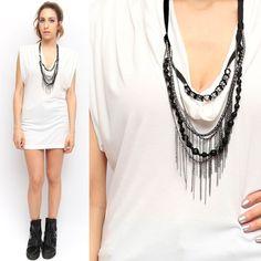 BCBG White Cotton Cowel Stretch Mini Dress w Black Chain Crystal Necklace | eBay
