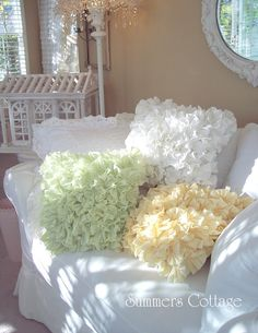 COTTAGE CHIC RUFFLED PILLOWS IN 3 COLORS - WHITE, GREEN, YELLOW